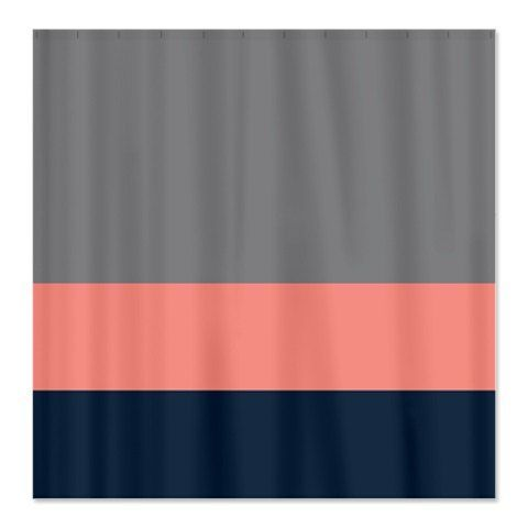 Custom Color Block Shower Curtain Titanium/Grey Coral Navy OR Choose  Colors Standard U0026 Extra Long Sizes Available