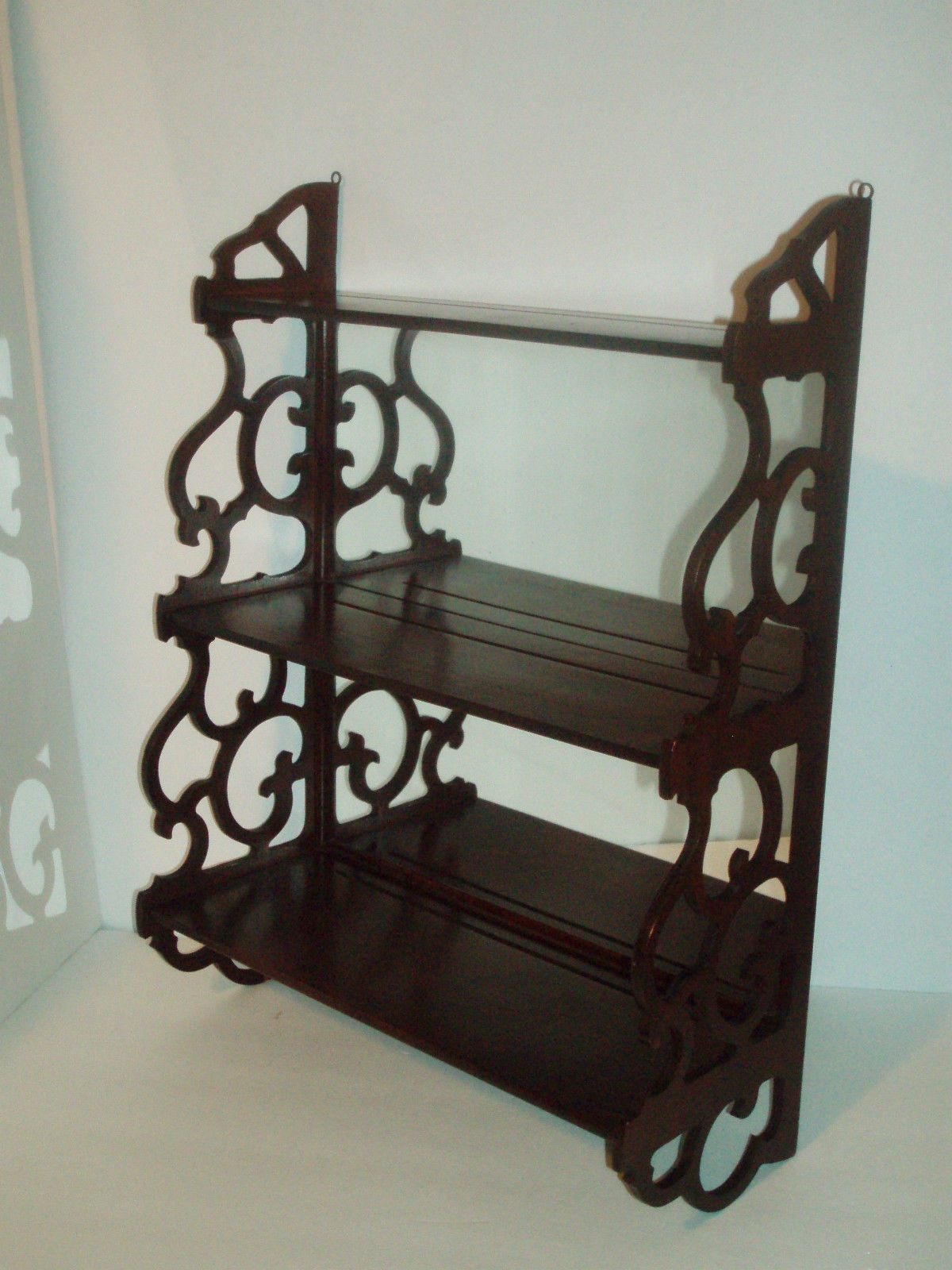 Vintage Mahogany 3 Tiered Wall Shelf Curio With Mirror Back And Fretwork Sides