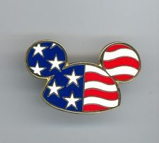 850b634befe Walt Disney World Patriotic Mickey Mouse Ear Hat Ears Stars   Stripes Cast  Pin