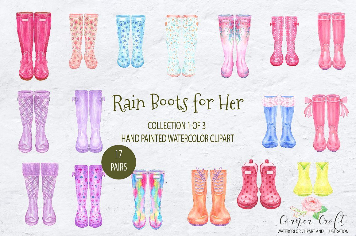 Watercolor Rain Boots For Her With Images Watercolor Clipart