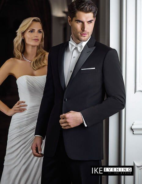 Rent The Black Peak 1 Button Tuxedo By Ike Behar Wedding Suits Groom Savvi Formalwear Wedding Suits