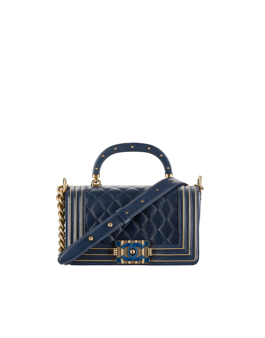 e7b9b367060 BOY CHANEL handbag with handle, lambskin, resin   gold-tone metal-navy blue    gold - CHANEL