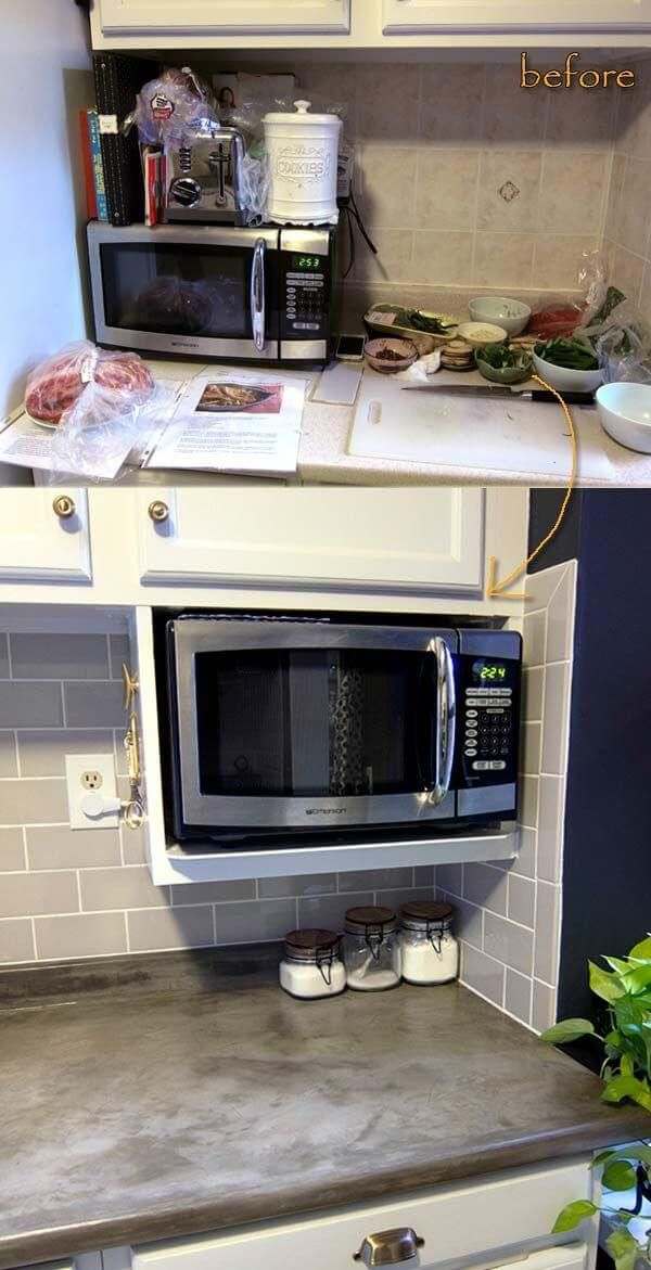 12 Best Kitchen Countertop Ideas That Will Keep Your Kitchen ... Kitchen Ideas Microwave Cabinet With Space For Small Spaces on
