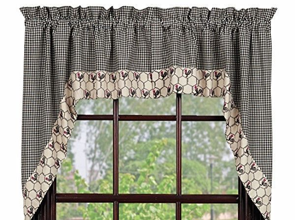 Primitive Country Chicken Wire Rooster Swag Black Cream Check Curtain Valance Kitchen Curtains Style
