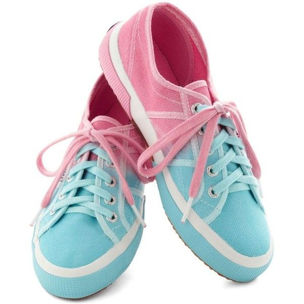 Cotton Candy Calypso Sneaker ❤ liked on Polyvore featuring shoes, sneakers, polish shoes, cotton shoes, blue shoes, laced sneakers and laced shoes