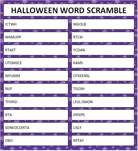 Halloween Word Scramble - Free Printable