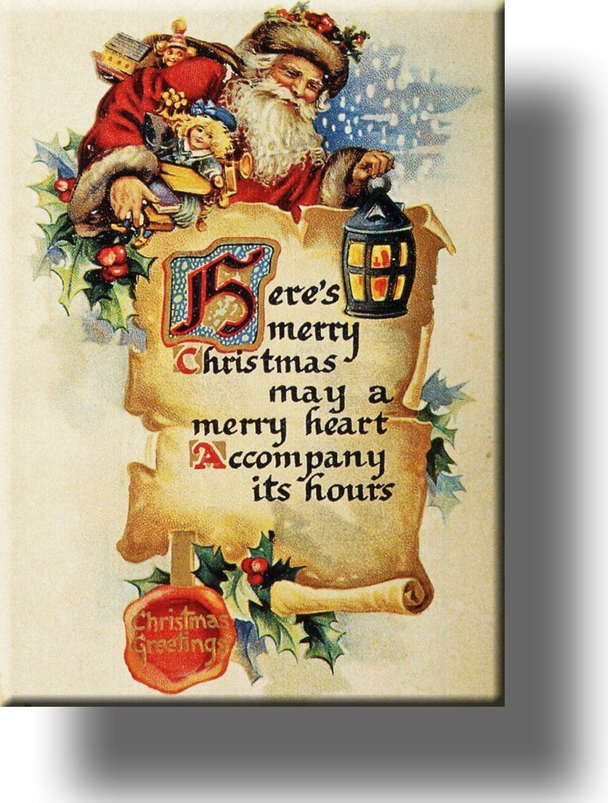 Here\'s Merry Christmas and Santa Claus Picture on Acrylic , Wall Art ...