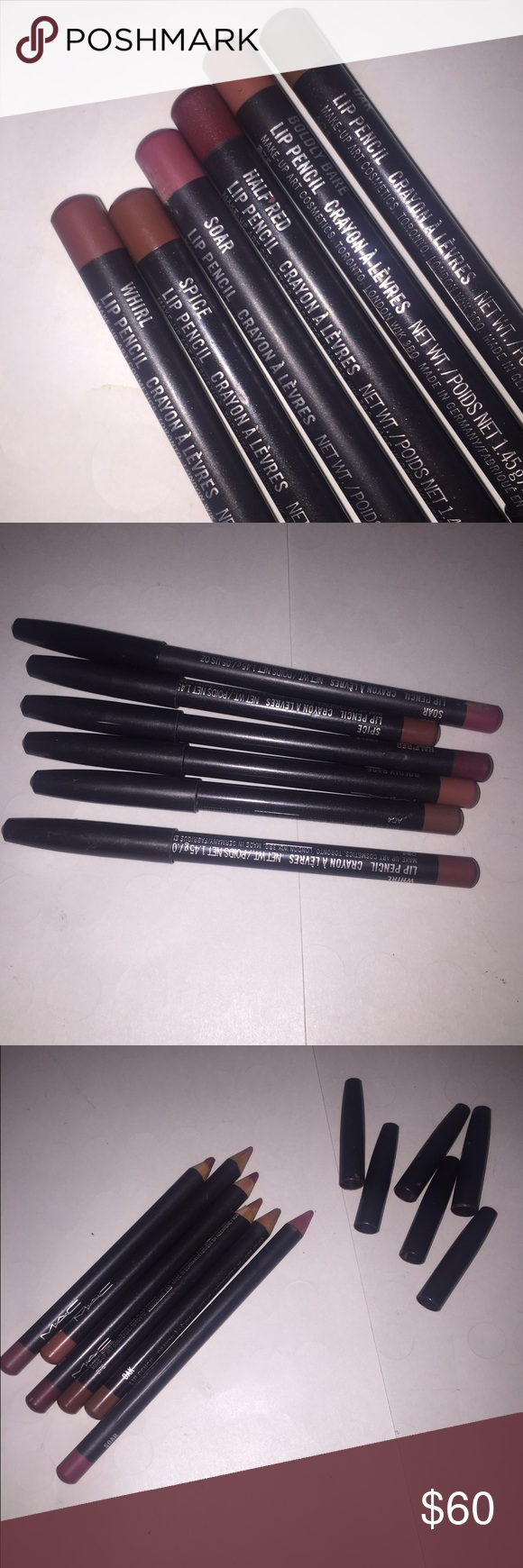 MAC 6 Lipliner Bundle MAC lipliners in a bundle sale. Soar, Whirl, Oak, Half Red, Spice, and Boldly Bare. These have been used but are clean and sanitized for their new owner. Theres about 3/4 left of each pencil, which is quite a bit. All very popular MAC liners. Authentic. MAC Cosmetics Makeup Lip Liner