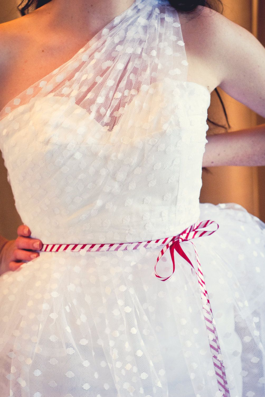 One shoulder swiss dot wedding dress polka swiss dot wedding