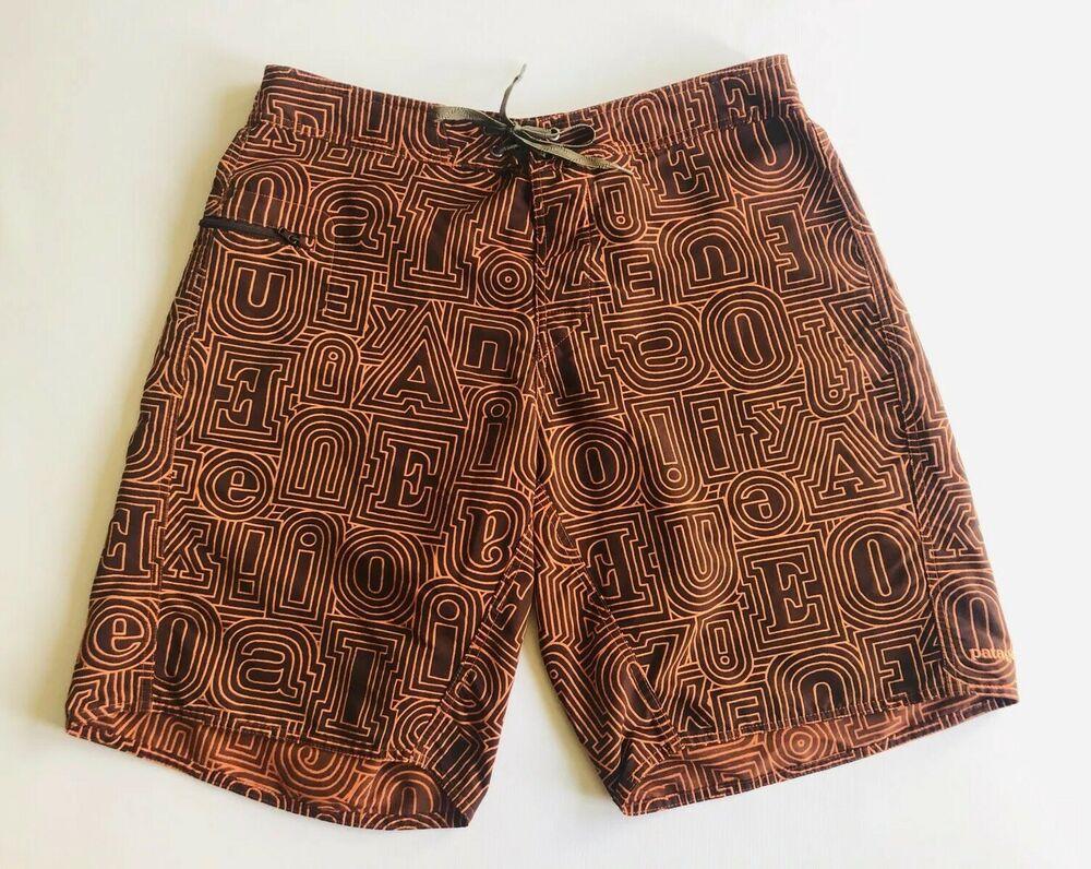 0ad5af7a92 Patagonia Men's Swim Trunks Board Shorts Size 34 Vintage Label Orange Brown  | eBay