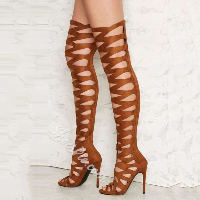 8877dc58811 Shoespie Brown Suede-like Cut Out Cage Thigh High Boots