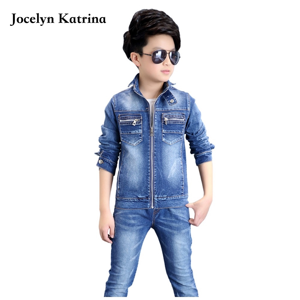 32.98$  Watch here - http://aicvt.worlditems.win/all/product.php?id=32790916429 - Jocelyn Katrina 2017 New Children Sets Spring Baby Boys clothes cowboy suit child costumes Autumn jacket jeans 2 Pieces Sets