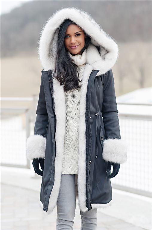 19caa8764 Black Hooded Faux Fur-Lined Knee-Length Coat - 4 | Mrs. | Coat ...