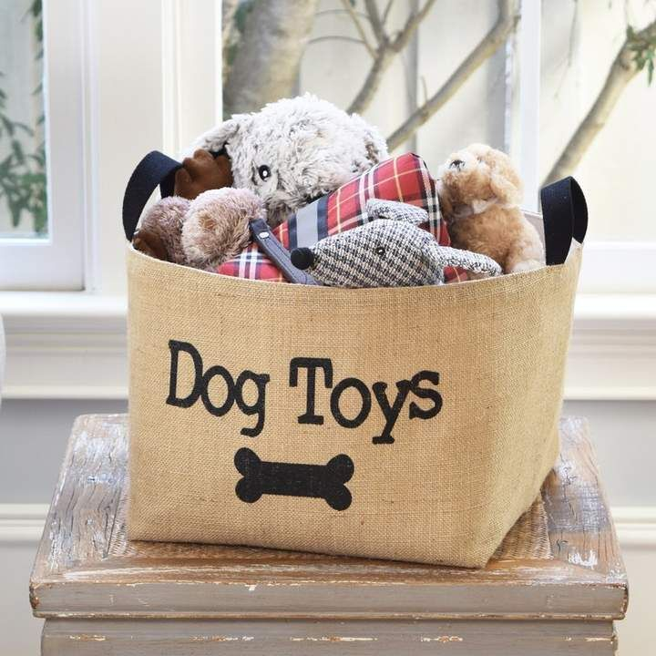 Asouthernbucket Dog Toys Burlap Storage Basket Dog Toy Basket