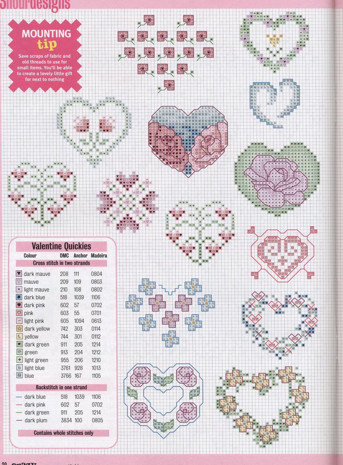Valentine Quickies | Punto Cruz | Pinterest | Punto de cruz, Punto ...