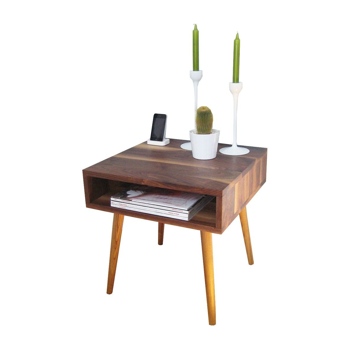 Handmade in san francisco from solid walnut and oak this hip accent