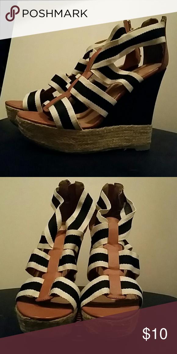 Wedges Black and khaki wedge Shoes Wedges