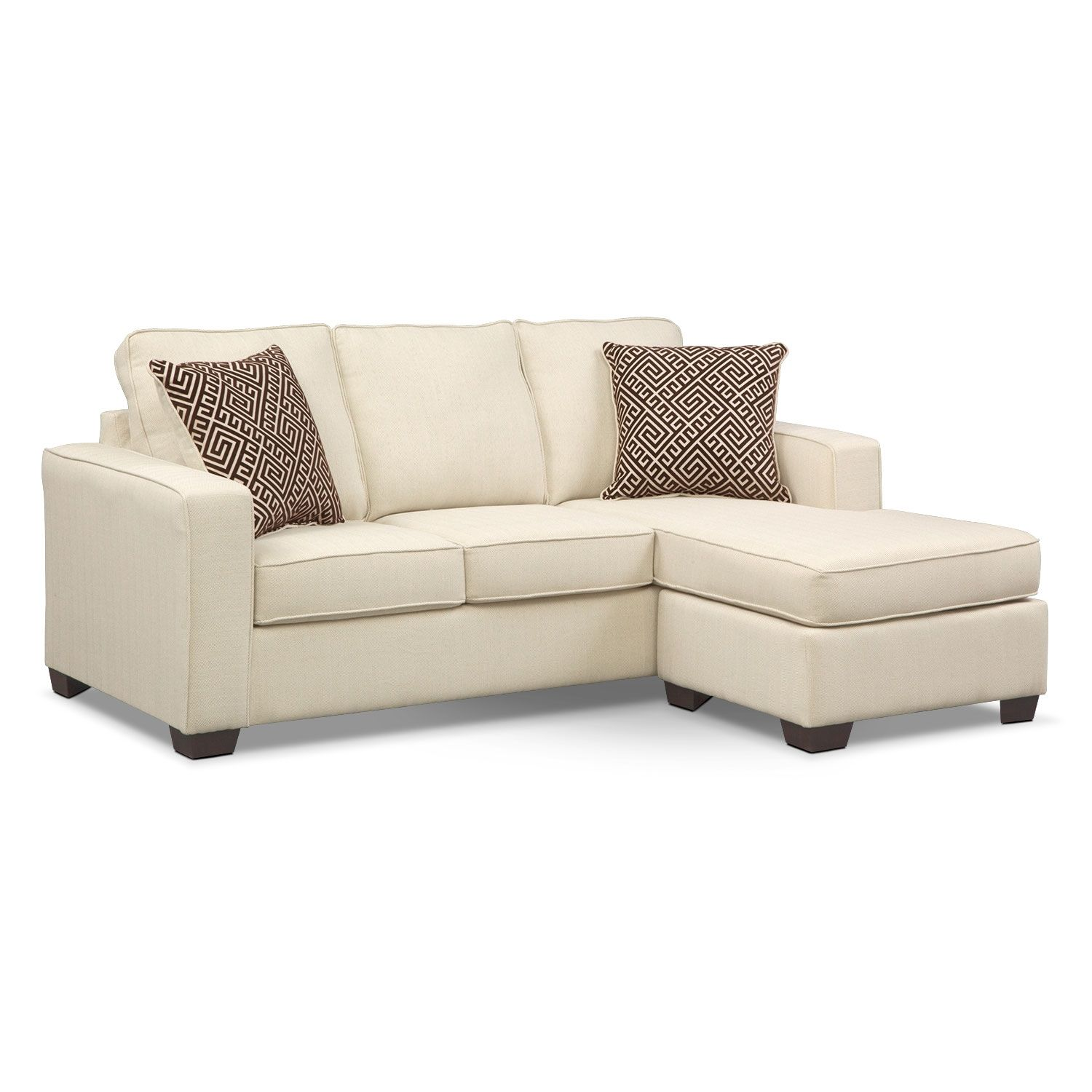 Living room furniture sterling beige queen memory foam sleeper sofa w chaise