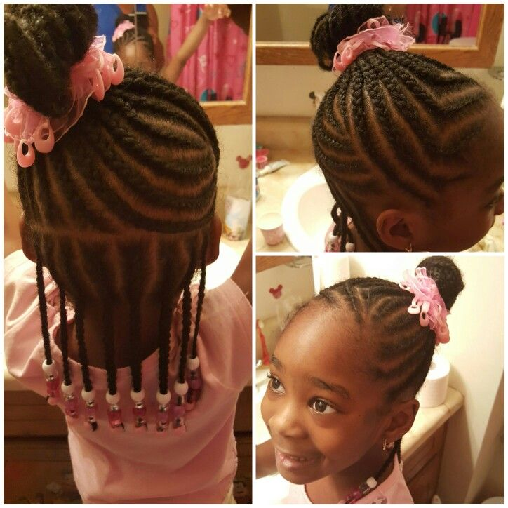 Braids into a bun   more braids   Pinterest   Kid ...