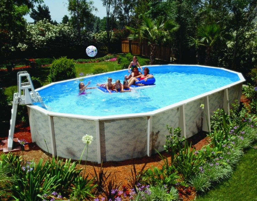 portable oval fiberglass above ground pools kids friendly with garden landscape