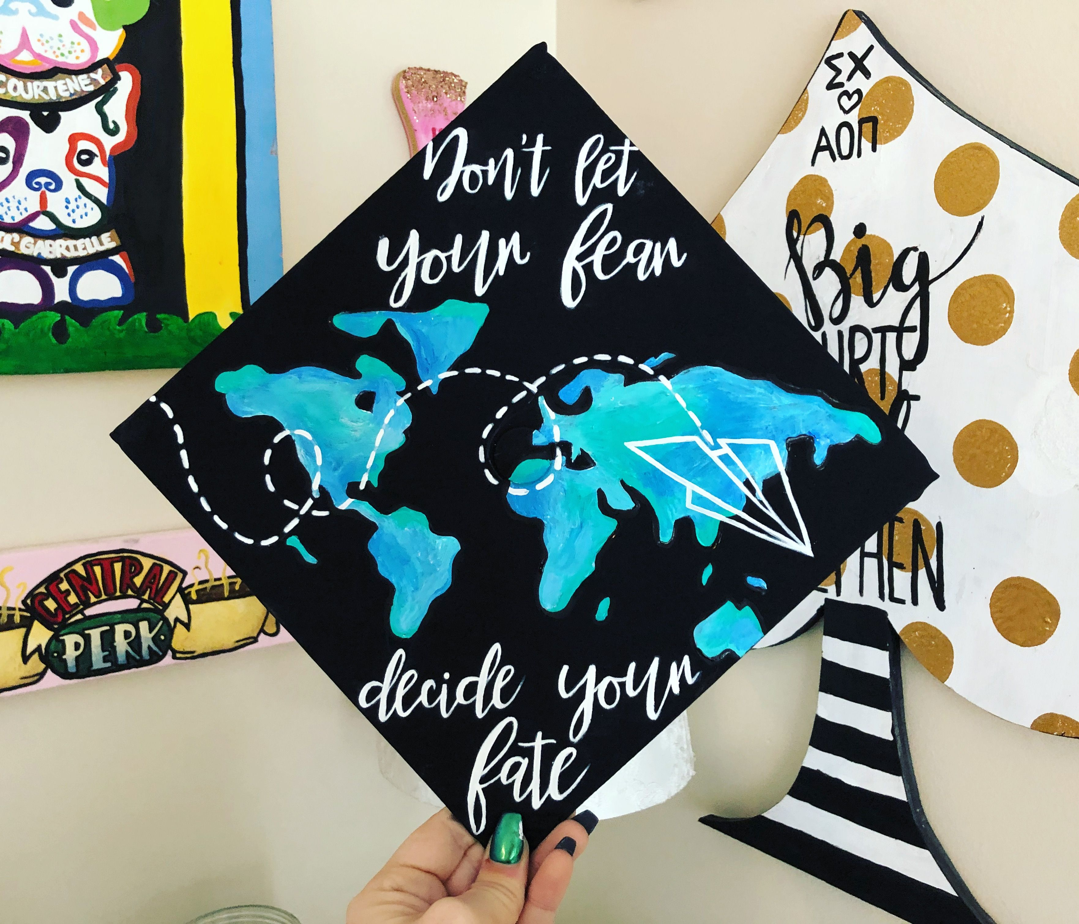 Continent World Map With Paper Plane Graduation Cap Made