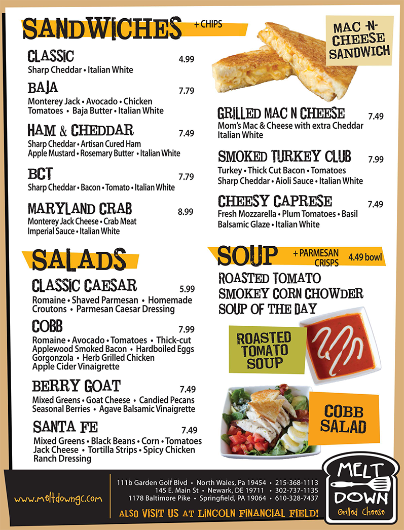 Menu of Melt Down Grilled Cheese at Newark - Kids Meal, Ice cream ...