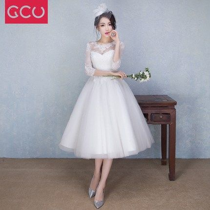 2016 new autumn and winter wedding dress short paragraph bride ...