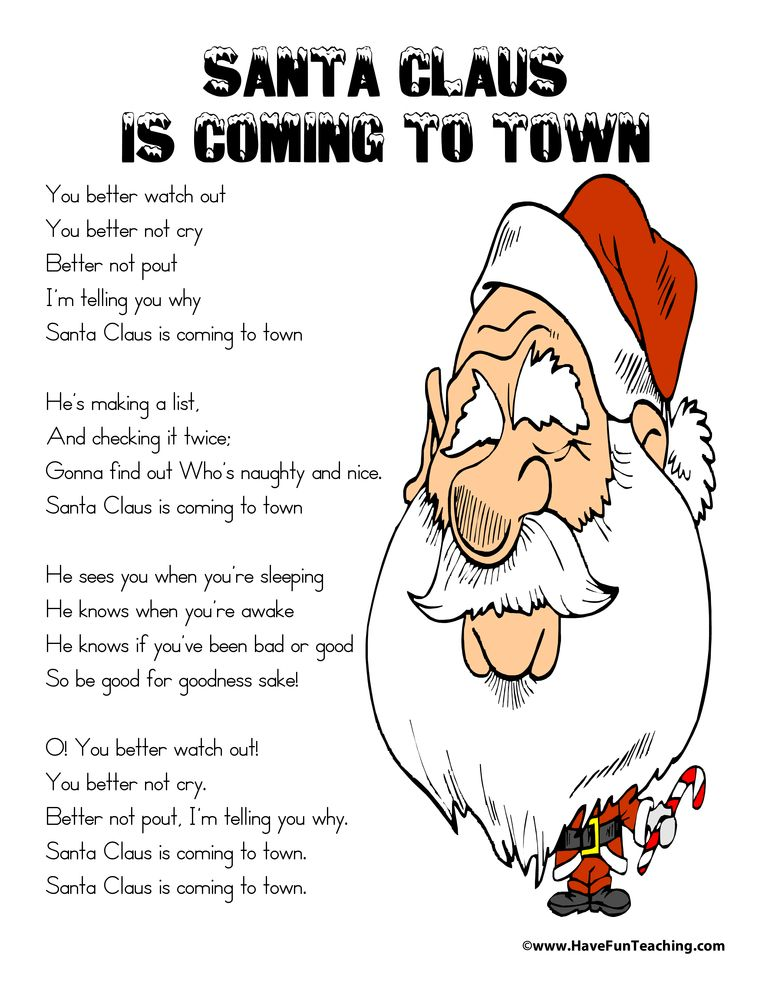 Santa Claus Is Coming To Town Lyrics Preschool christmas