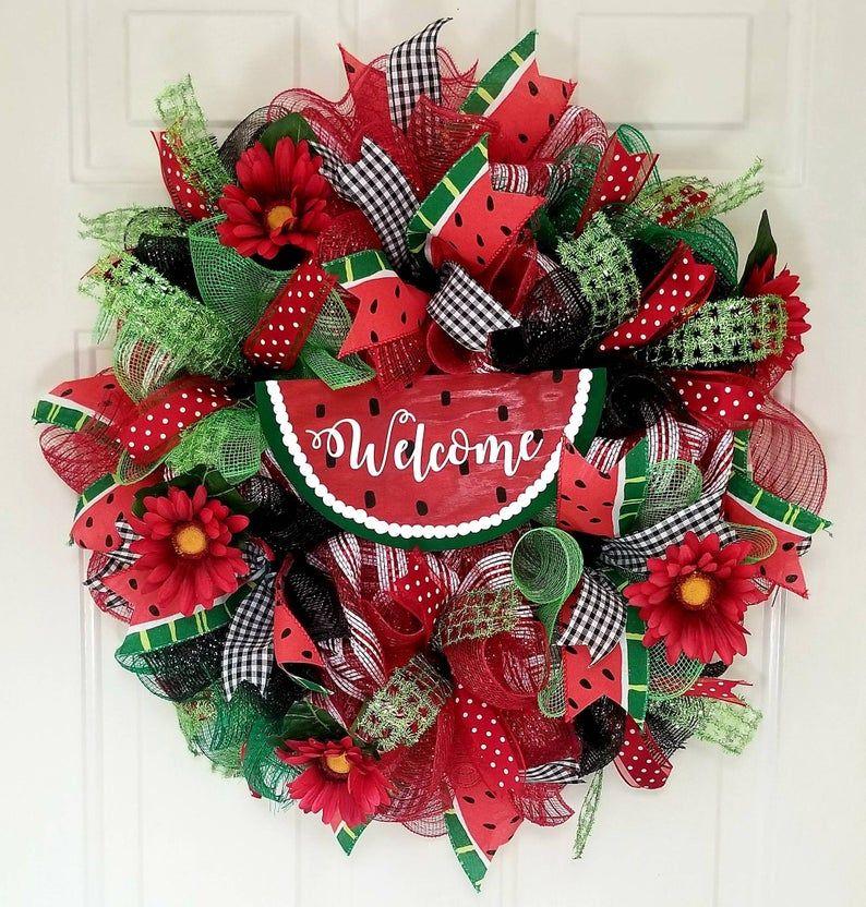 Photo of Front Door Wreath, Watermelon Wreath, Summer Decor, Summer Deco Mesh Wreath, Summer Door Decor, Summer Wreath for Front Door, Welcome Wreath