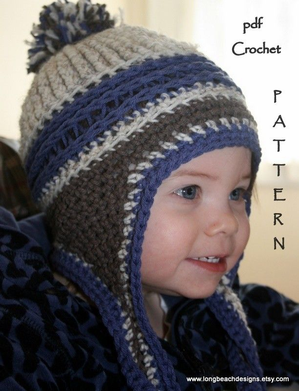 c65e23ea894 PDF Crochet pattern Kids Mountain Jam Earflap Hat 3 sizes included  permission to sell finished product.  4.99