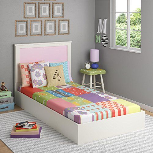 Cosco Skyler Kids Twin Bed With Reversible Headboard White Bed