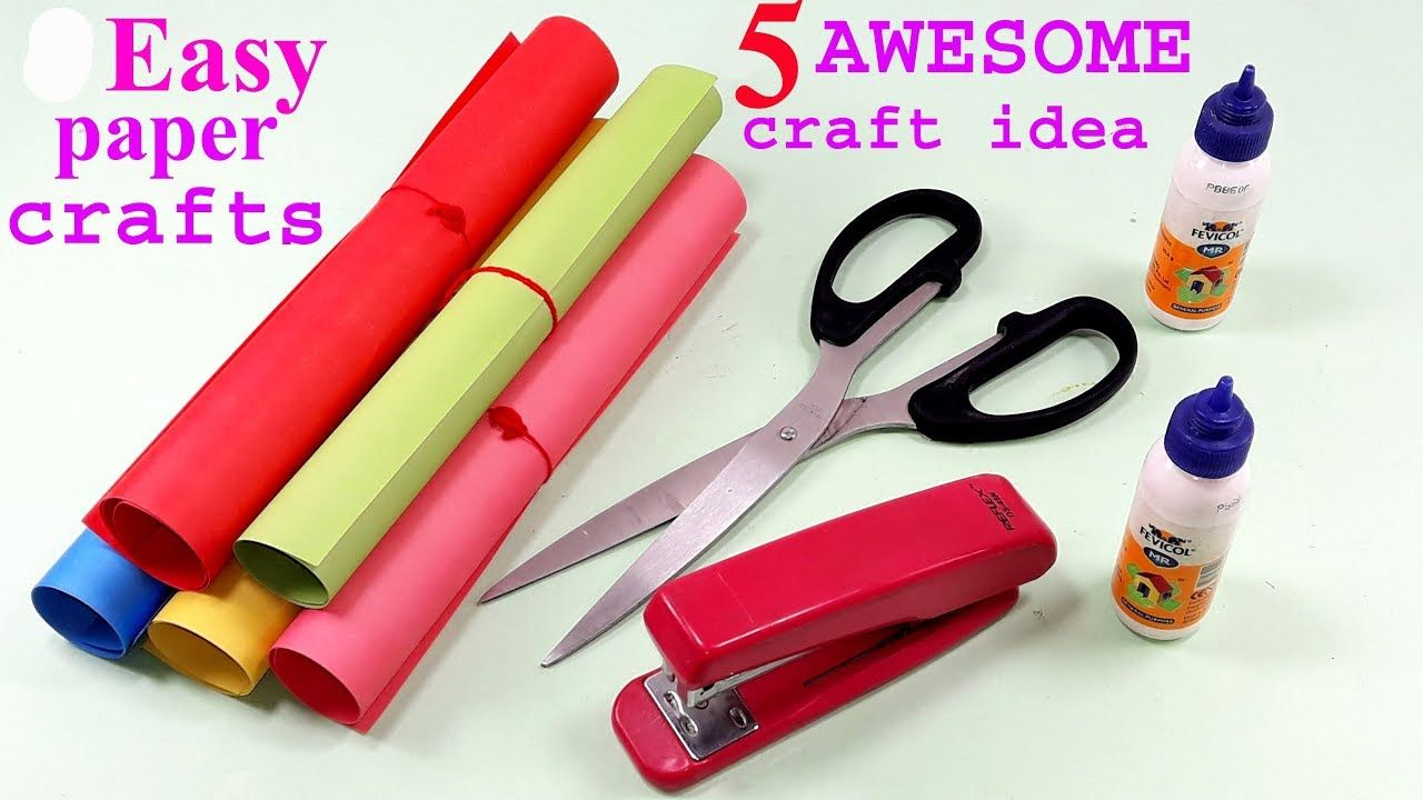 5 Awesome Craft Ideas With Colour Paper Paper Crafts Diy Fun