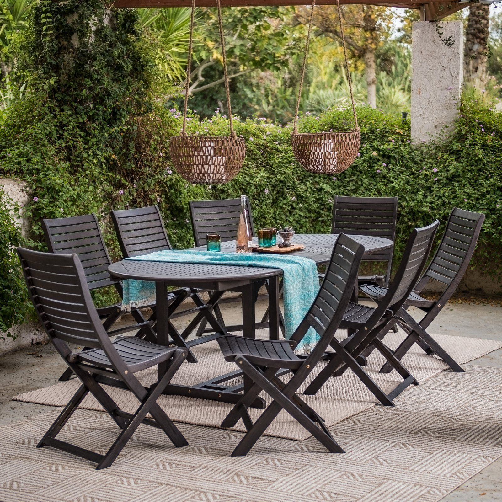Outdoor Coral Coast Colter Bay Wood Patio Dining Set Wood Patio