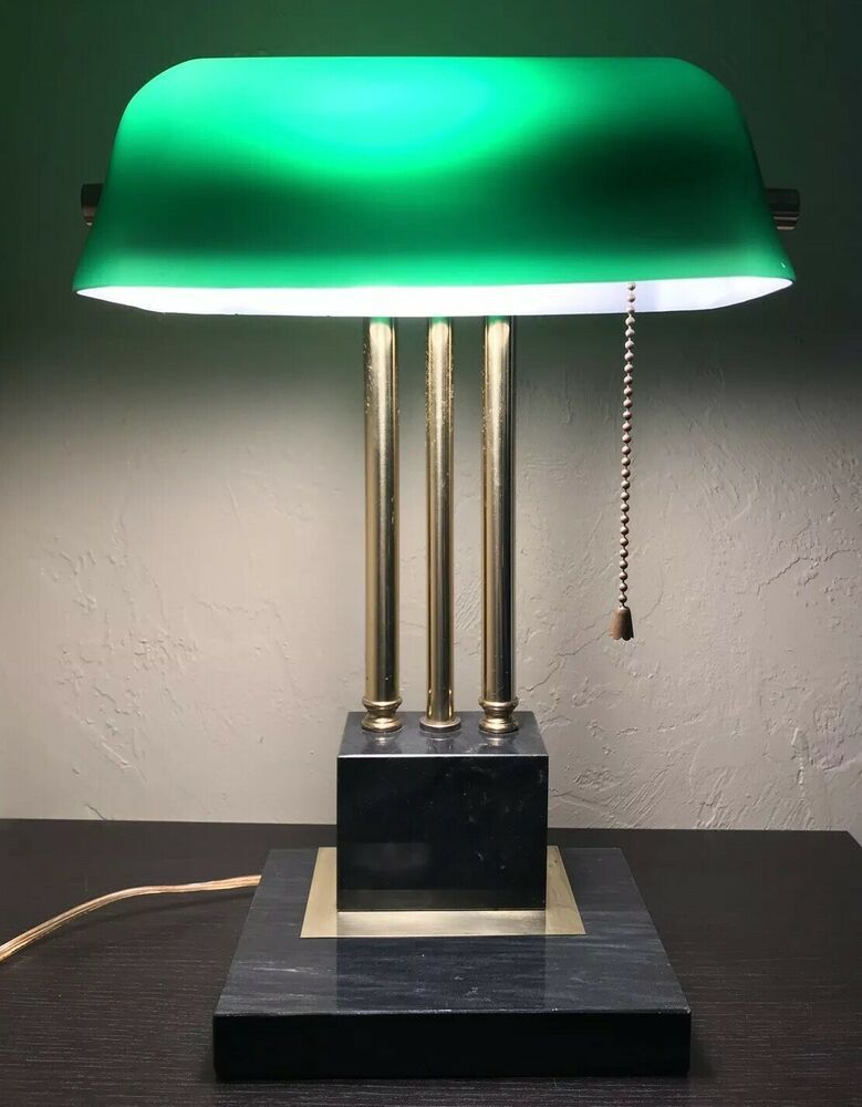 Vintage Bankers Desk Lamp Green Glass Shade Marble Base