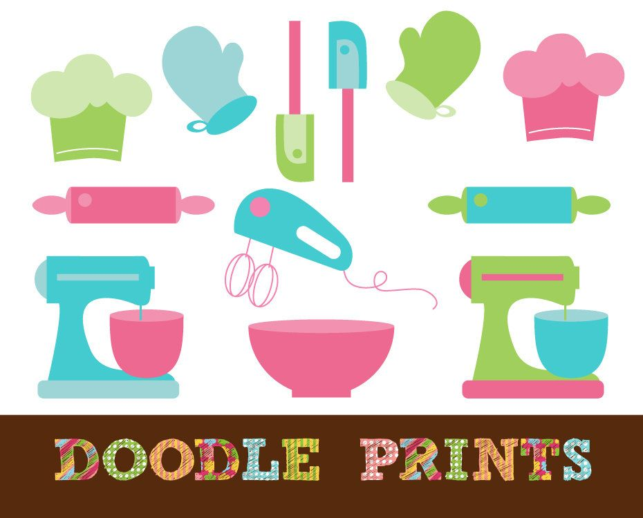 Digital Scrapbook Clip Art Printable - Baker Clipart - Baking ...