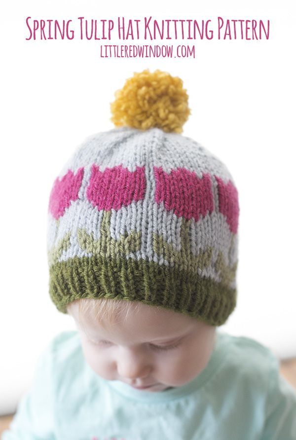 Spring Tulip Hat Fair Isle Knitting Pattern for babies and toddlers ...