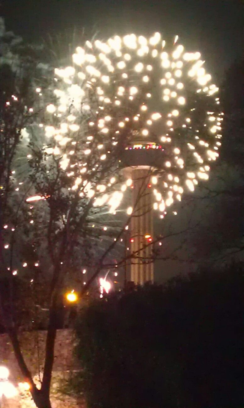 New Year's Eve fireworks over Tower of the Americas in San