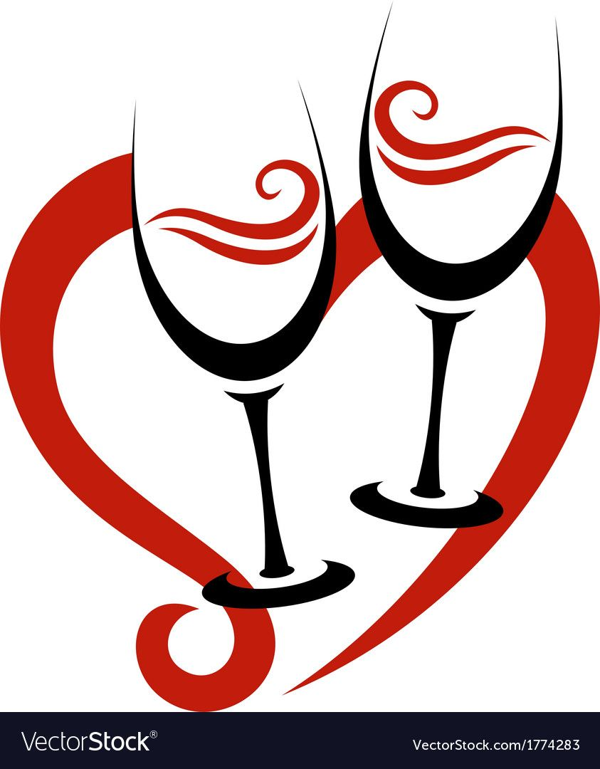 Two Abstract Glasses Of Red Wine Heart Vector Image On Vectorstock Red Wine Heart Wine Images Abstract