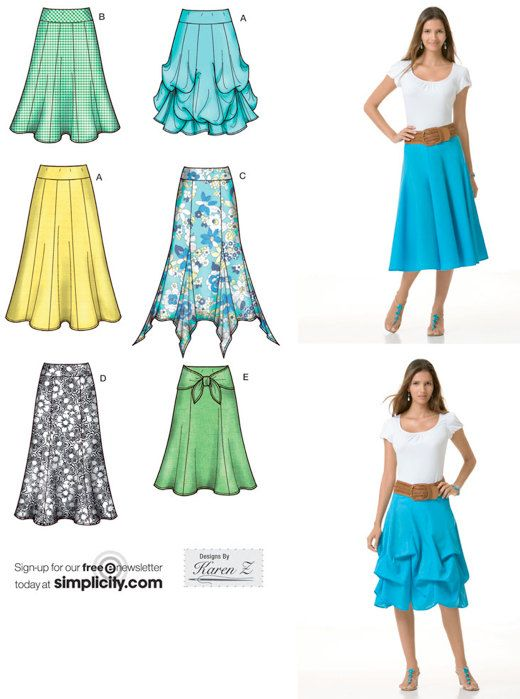 PLUS SIZE SKIRT Sewing Pattern - Gypsy Fishtail Skirts - 2 Lengths ...