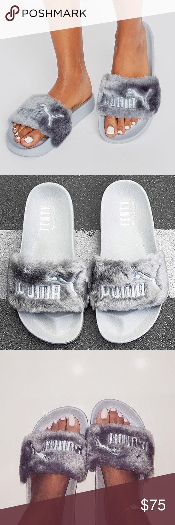 cheap for discount ddd99 138fc Fenty x Puma Fur Slides (Grey/Silver) Original Fenty Puma ...