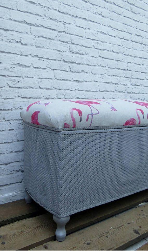 Vintage Ottoman Blanket Linen Box Bench Storage Seat Grey Flamingo ...