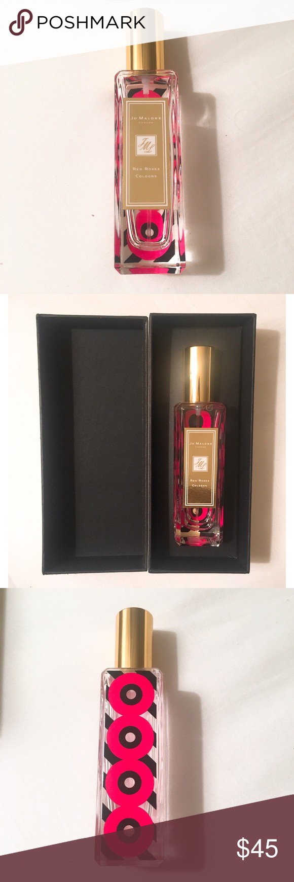 Jo Malone limited edition red roses 30ml Jo Malone limited edition red roses 30ml - a quarter used. Comes with box. Original product purchased at London heathrow airport. Selling as I love it but realized I had a larger partially used bottle of the same scent! Jo Malone Makeup