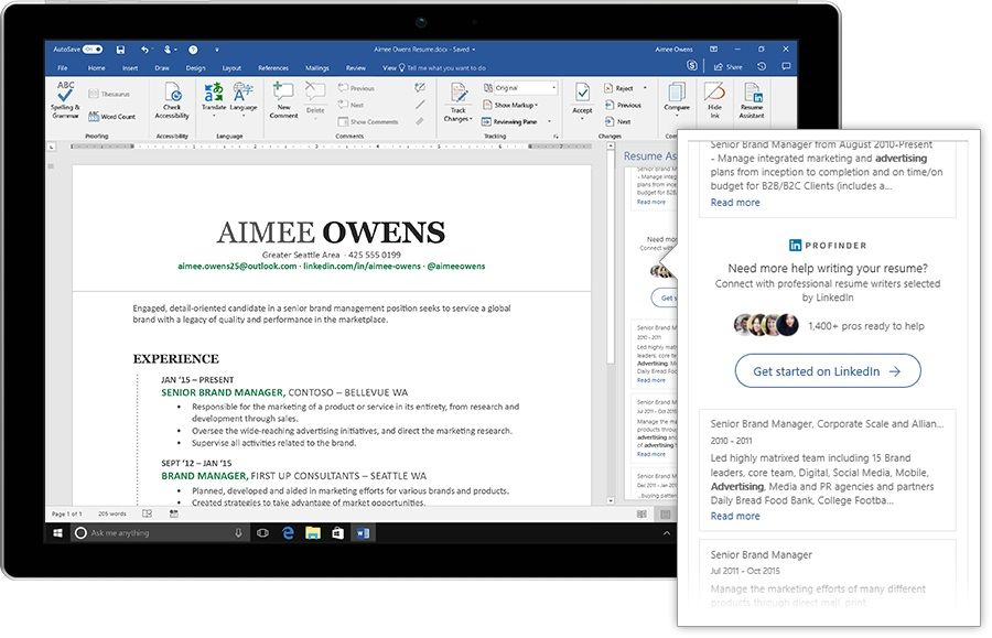 Microsoft Plugs LinkedIn into Word with Resume Assistant Resume - Resume Now Customer Service