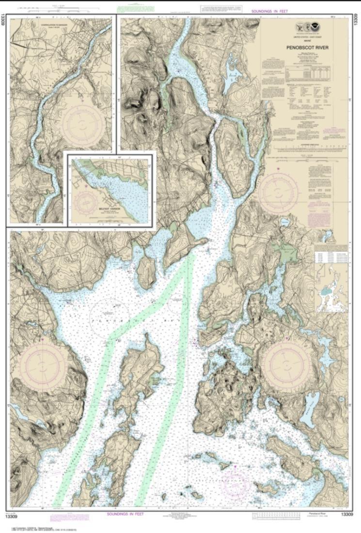 Penobscot River Belfast Harbor 13309 29 By Noaa Nautical Chart Map Maine