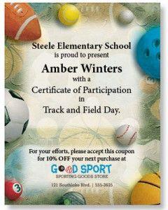 Field day sports certificates certificate field day sports certificates yadclub Choice Image