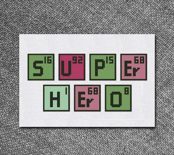 Cross Stitch Pattern Super Hero Periodic Table Instant Download PDF - new periodic table download