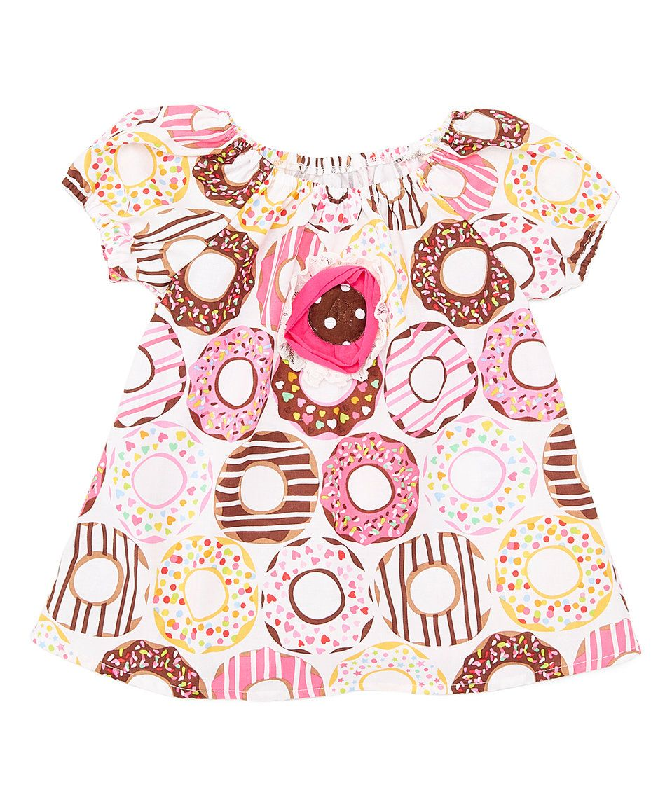Take a look at this Brown & Yellow Donut Peasant Top - Toddler & Girls today!