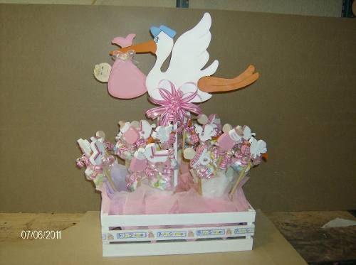 Centro De Mesa Para Baby Shower En Madera De Ciguea Hwo 35000