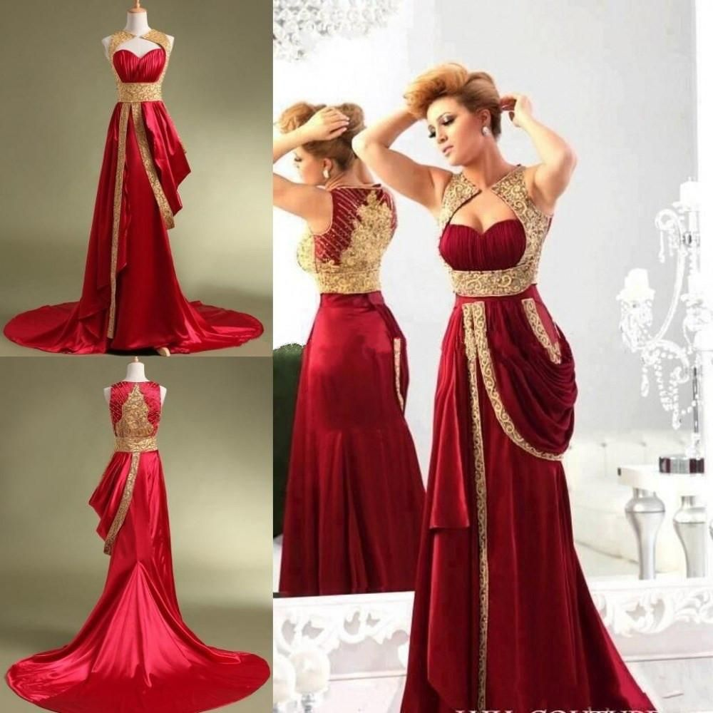 40f941b69e3 Fashion Design Dubai Evening Dresses 2015 Gold Beads Applique Satin  Burgundy Vintage Kaffans Arabic Formal Women Prom Gown Custom Made Online  with ...