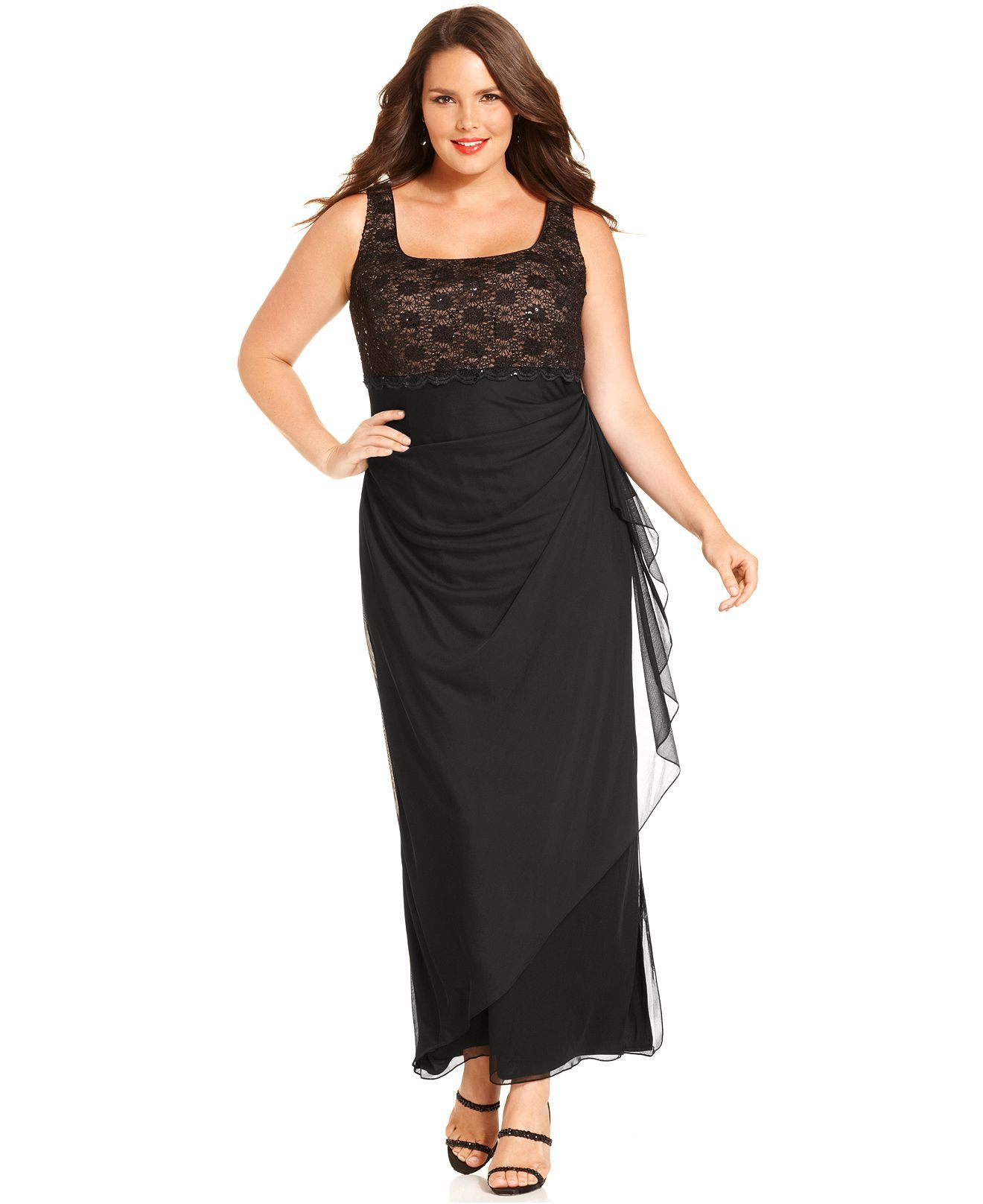 Alex Evenings Plus Size Dress and Jacket, Sleeveless Lace Sequin ...
